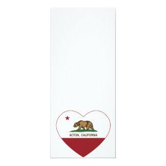 """corazón de Acton de la bandera de California Invitación 4"""" X 9.25"""""""
