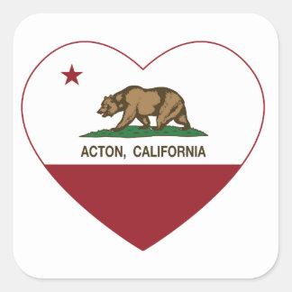 corazón de Acton de la bandera de California Pegatina Cuadrada