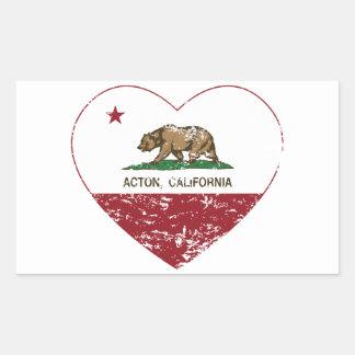 corazón de Acton de la bandera de California Pegatina Rectangular