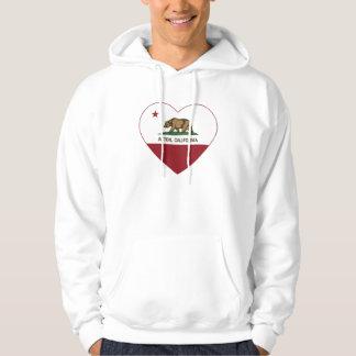 corazón de Acton de la bandera de California Pulóver Con Capucha