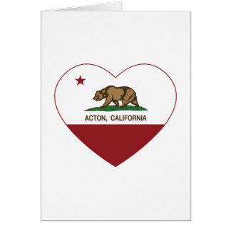 corazón de Acton de la bandera de California Tarjeta De Felicitación