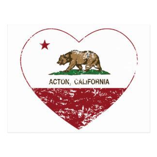 corazón de Acton de la bandera de California Tarjetas Postales