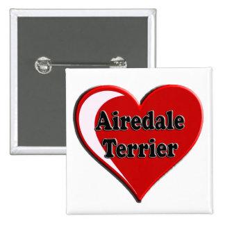 Corazón de Airedale Terrier Pin