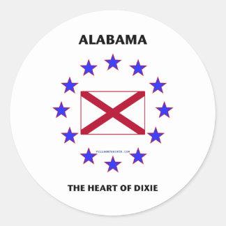 Corazón de Alabama de Dixie Pegatinas Redondas