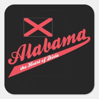 Corazón de Alabama de Dixie Pegatina Cuadrada