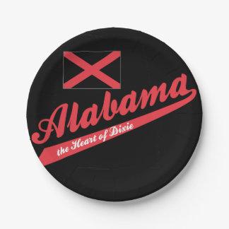 Corazón de Alabama de Dixie Plato De Papel De 7 Pulgadas