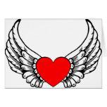 Corazón de alas rojas felicitación