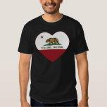 corazón de Alta loma de la bandera de California Remeras