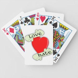 Corazón de amor y odio barajas de cartas