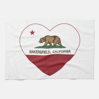 corazón de Bakersfield de la bandera de California Toallas De Mano