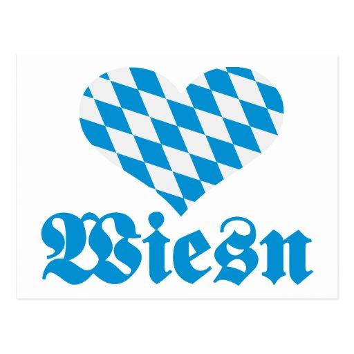 Corazón de Baviera de Oktoberfest Wiesn Tarjeta Postal