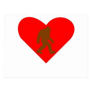 Corazón de Bigfoot Tarjeta Postal