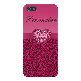 Corazón de Bling y modelo impresos rosas fuertes d iPhone 5 Cárcasas