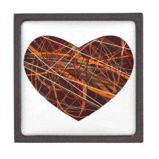 Corazón de Brown con las líneas rojas, negras, Caja De Regalo De Calidad