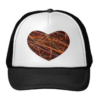 Corazón de Brown con las líneas rojas, negras, Gorros Bordados