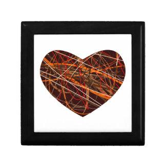 Corazón de Brown con las líneas rojas, negras, Joyero Cuadrado Pequeño