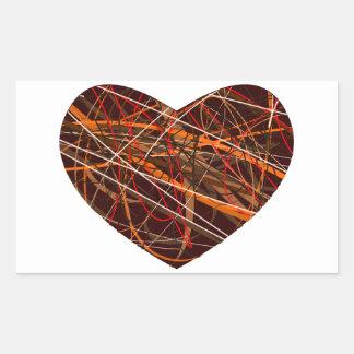 Corazón de Brown con las líneas rojas, negras, Pegatina Rectangular