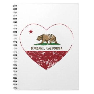 corazón de Burbank de la bandera de California ape Libro De Apuntes