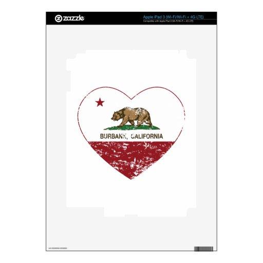 corazón de Burbank de la bandera de California ape iPad 3 Pegatina Skin