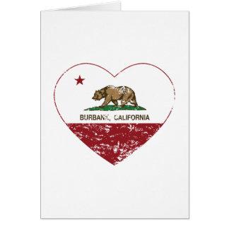 corazón de Burbank de la bandera de California ape Tarjeta De Felicitación