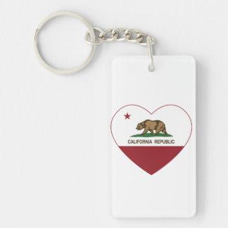 Corazón de California del amor de la república de Llavero Rectangular Acrílico A Doble Cara