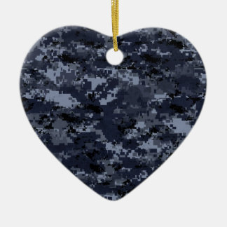 Corazón de Camo de la marina de guerra Adorno Navideño De Cerámica En Forma De Corazón