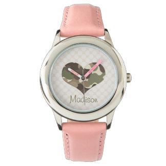 Corazón de Camo Relojes De Pulsera