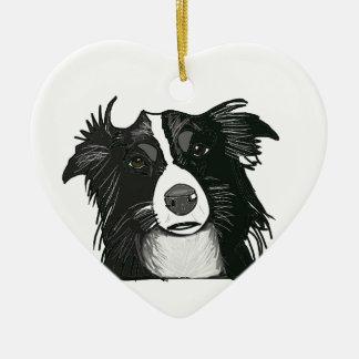 Corazón de cerámica del border collie blanco y adorno navideño de cerámica en forma de corazón