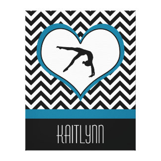 Corazón de Chevron de la gimnasia con el monograma Lona Estirada Galerias