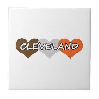Corazón de Cleveland Azulejo Cuadrado Pequeño