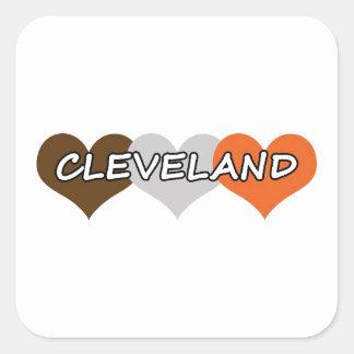 Corazón de Cleveland Pegatina Cuadrada
