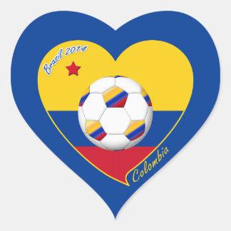 Corazón de COLOMBIA FÚTBOL y bandera nacional 2014 Pegatina En Forma De Corazón