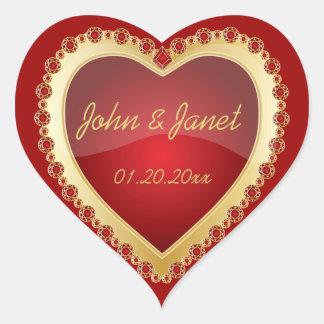 Corazón de color rojo oscuro brillante de la joya pegatina en forma de corazón