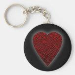 Corazón de color rojo oscuro. Diseño modelado del  Llaveros Personalizados