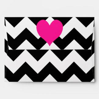 Corazón de color rosa oscuro en zigzag blanco y ne