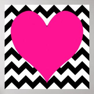 Corazón de color rosa oscuro en zigzag blanco y póster