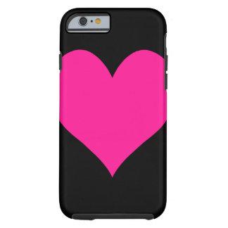 Corazón de color rosa oscuro lindo funda resistente iPhone 6