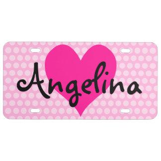 Corazón de color rosa oscuro personalizado con los placa de matrícula
