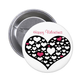 Corazón de corazones, botón feliz de las tarjetas  pin redondo de 2 pulgadas