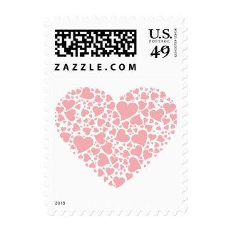 Corazón de corazones - palidezca - rosa sello postal