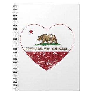 corazón de Corona del Mar de la bandera de Califor Note Book