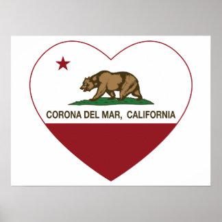 corazón de Corona del Mar de la bandera de Califor Posters