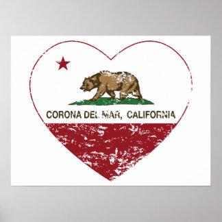corazón de Corona del Mar de la bandera de Califor Impresiones