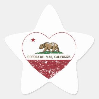 corazón de Corona del Mar de la bandera de Colcomanias Forma De Estrella