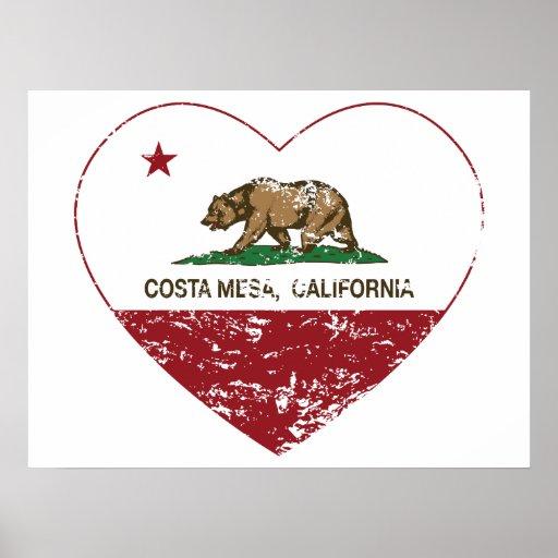 corazón de Costa Mesa de la bandera de California  Posters