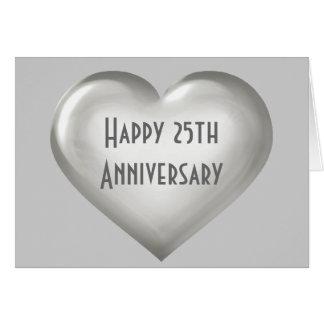 Corazón de cristal de plata del 25to aniversario tarjeta de felicitación