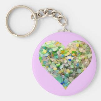 Corazón de cristal del mar en colores pastel en llavero personalizado