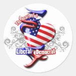 Corazón de Demócrata liberal Etiqueta Redonda