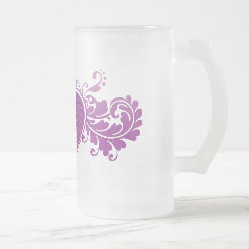 Corazón de despegue Fangirl (vidrio) Taza De Cristal