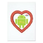 Corazón de Droid del insecto (amor) torta del rosa Invitación 12,7 X 17,8 Cm